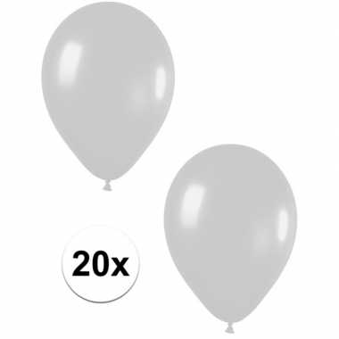 20x zilveren metallic ballonnen 30 cm