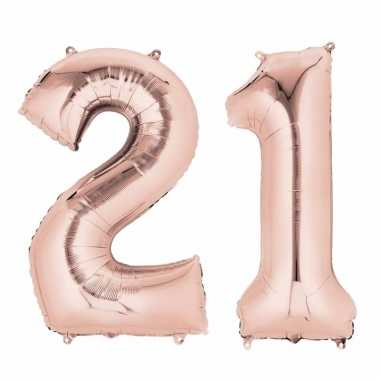 21 jaar versiering cijfer ballon rose goud