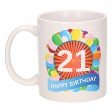21e verjaardag cadeau beker / mok 300 ml