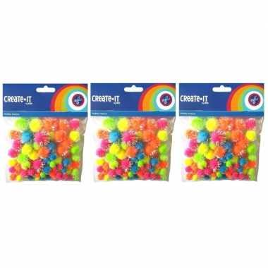 225x knutsel pompoms neon gekleurd met glitters