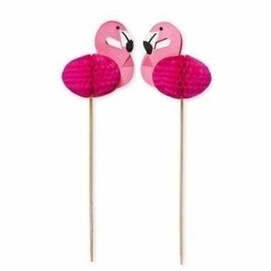24x flamingo thema cocktailprikkers 15 cm