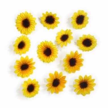24x kleine decoratie zonnebloemetjes