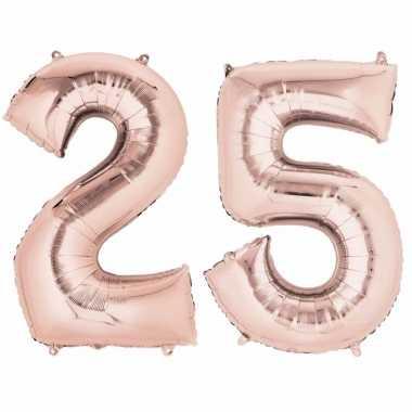 versiering 25 jaar 25 jaar versiering cijfer ballon rose goud | Alltrends.nl versiering 25 jaar