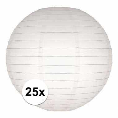 25x lampionnen 25 cm wit