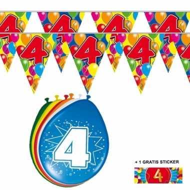 2x 4 jaar vlaggenlijn + ballonnen