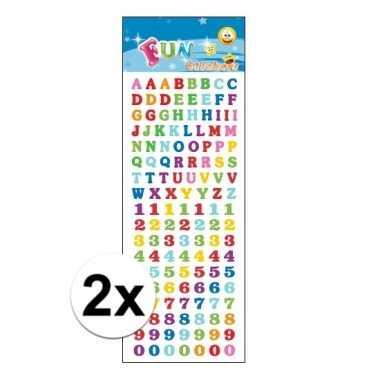 2x agenda stickervel letters en cijfers gekleurd