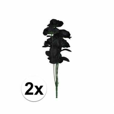 2x bruidsboeket 12 zwarte rozen
