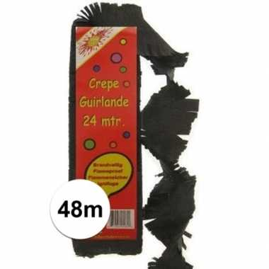 2x crepe feestslingers zwart 24 meter
