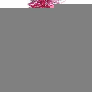 2x fuchsia roze kerstversiering folie slinger met ster 270 cm