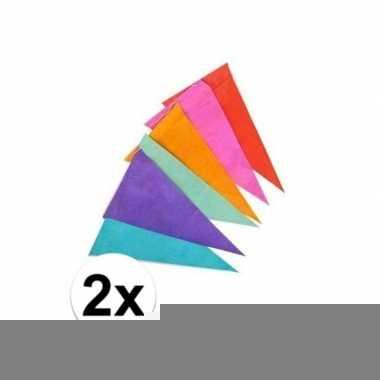 2x gekleurde vlaggenlijnen/vlaggetjes van papier