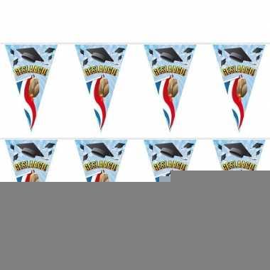 2x geslaagd/afgestudeerd vlaggenlijnen/slingers tas 10 m