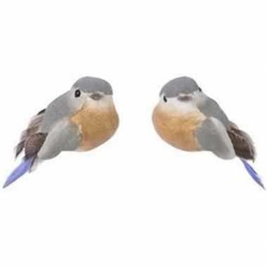 2x grijs/bruine metallic vogels kerstversiering clip decoraties