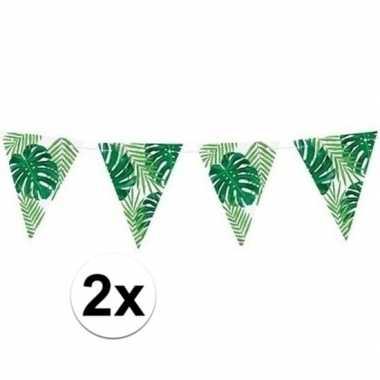 2x groene diy hawaii thema feest vlaggenlijnen 1,5 meter