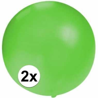 2x grote ballonnen van 60 cm groen