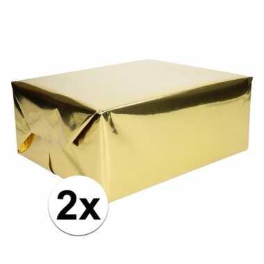 2x inpakpapier/cadeaupapier goud metallic 400 x 50 cm op rol