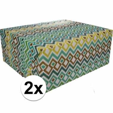 2x inpakpapier met gekleurd motief 200 x 70 cm op rol type 3