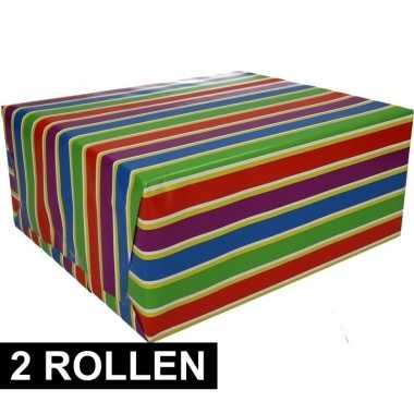 2x inpakpapier met strepen 200 x 70 cm op rol type 1