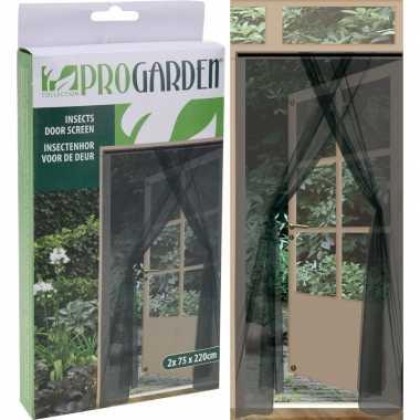 2x insecten deur horren/horgordijnen antraciet 75 x 220 cm