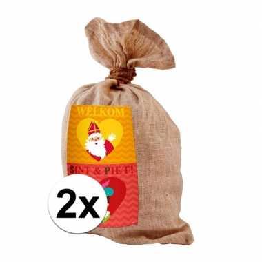 2x jute pieten zak 50 x 80 cm voor sinterklaasviering