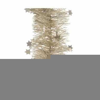 2x kerst creme folieslinger met sterren 270 cm