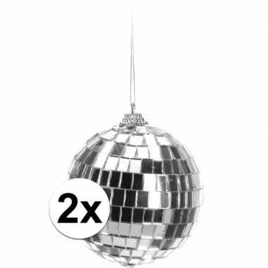 2x kerstboom decoratie discoballen zilver 8 cm