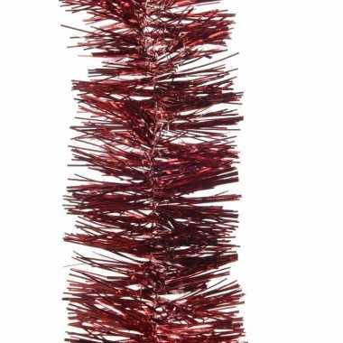 2x kerstboom folie slinger bordeaux rood 270 cm