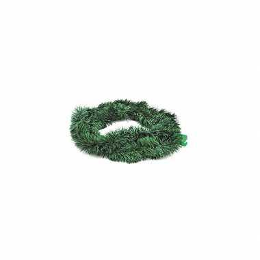 2x kerstmis versiering groene slingers 270 cm