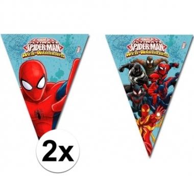 2x kinderfeestje spiderman warrior vlaggetjeslijnen