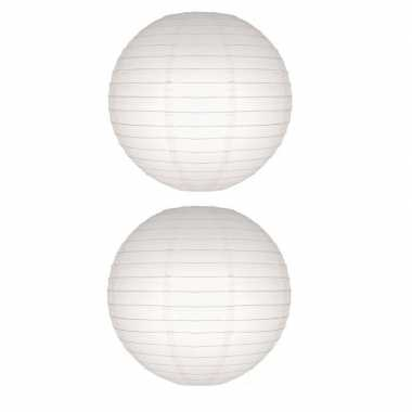 2x lampion 50 cm wit