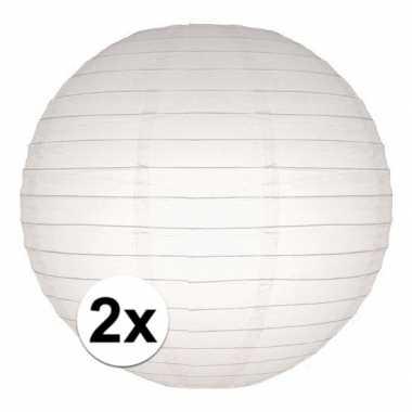 2x lampionnen 25 cm wit