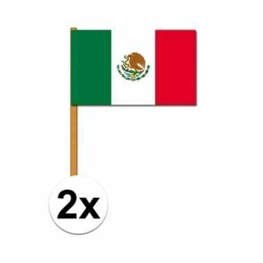 2x luxe zwaaivlaggen vlag mexico 30 x 45 cm