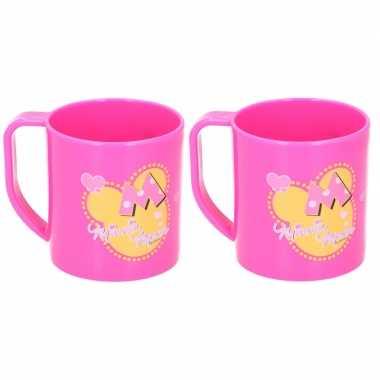 2x minnie mouse disney mokken onbreekbare drinkbekers roze