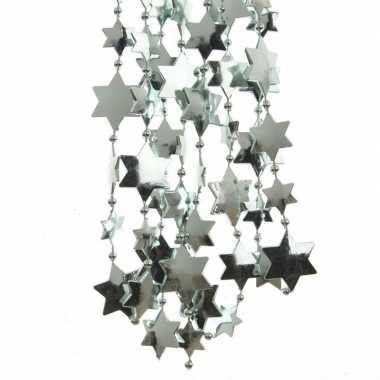 2x mintgroene kerstversiering ster kralenslinger 270 cm