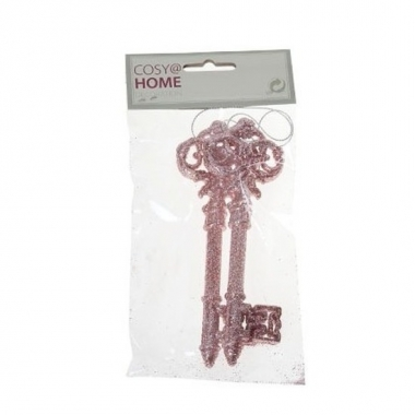 2x oud roze sleutel decoratiehanger met glitters 15 cm