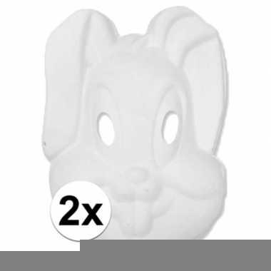 2x papier mache knutsel masker konijn/haas