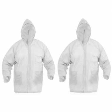2x regenjassen met knoopsluiting voor volwassenen wit