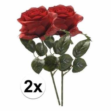 2x rode rozen simone kunstbloemen 45 cm