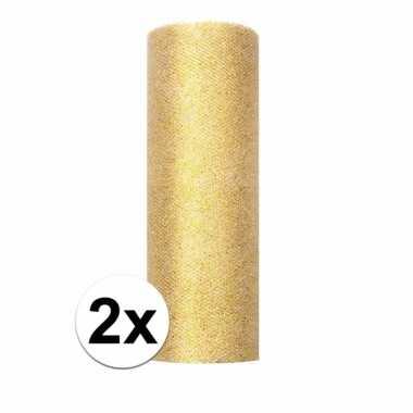 2x rollen glitter tule stof goud 15 cm breed