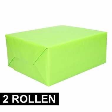 2x rollen kadopapier lime groen 200 x 70 cm op rol