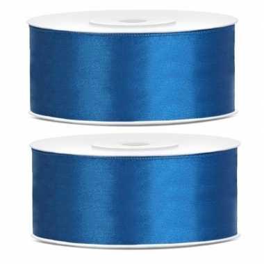2x rollen satijn sierlint kobalt blauw 25 mm