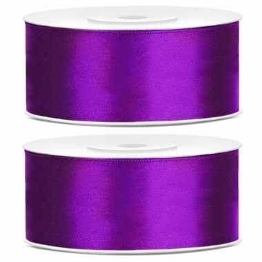 2x rollen satijn sierlint paars 25 mm