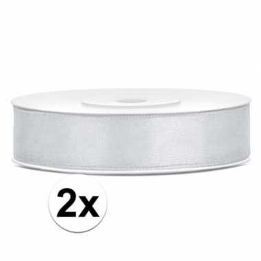 2x rollen satijn sierlinten zilver 12 mm