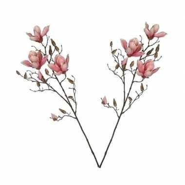 2x roze magnolia/beverboom kunsttakken kunstplanten 90 cm
