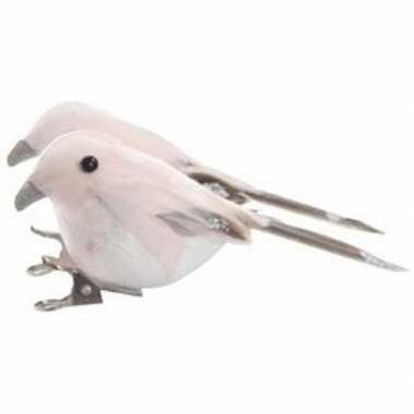 2x roze vogels kerstversiering clip decoraties 4 cm