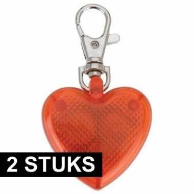2x sleutelhangers hartje met led-verlichting 4 cm