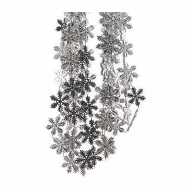 2x sneeuwvlok slinger zilver 270 cm
