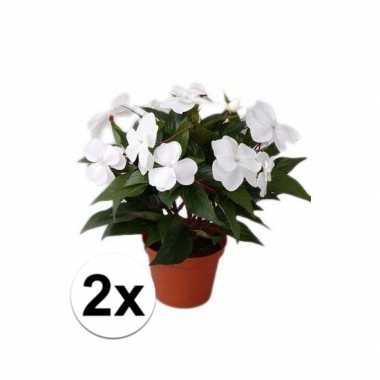 2x stuks kunstplanten wit vlijtig liesje in pot van 25 cm