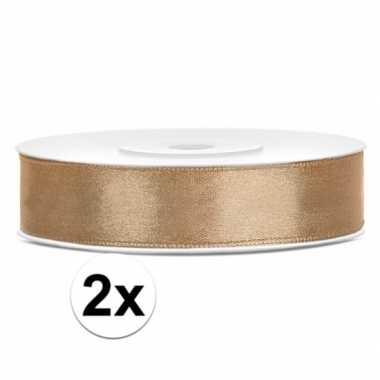 2x stuks rollen satijn sierlint goud 12 mm