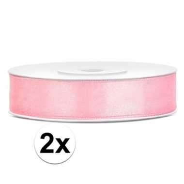 2x stuks satijn sierlinten lichtroze 12 mm