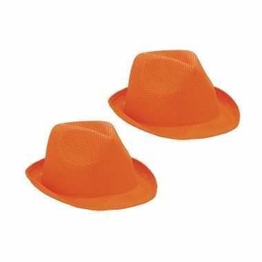 2x trilby thema hoedjes oranje